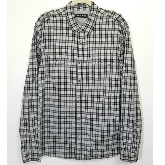 3e0da1301 DKNY Shirts | Jeans Gray Plaid Rolltab Sleeves Shirt | Poshmark